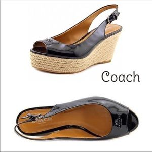 Coach patent leather wedge espadrille sandals